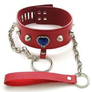 Red Locking Fetish Bondage Adjustable Collar w/ Leash ~ Strict Restraints for Fetish Kinky Love SEX Games Unisex: Health & Personal Care