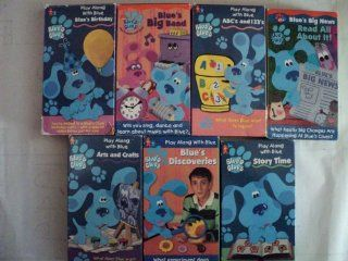 Blues Clues Pack of 7 VHS Tapes Play Along with Blue Birthday, Blue's Big Band, Abc's and 123's, Blue's Big News   Read All About It, Art's and Crafts, Blue's Discoveries, Story Time  Toy Story (1995), Recess   School's Out Sa