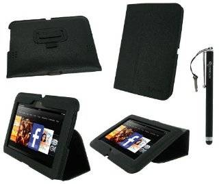 rooCASE Ultra Slim (Black) Vegan Leather Folio Case and (Black) Capacitive Stylus for  Kindle Fire HD 7 Inch Tablet Computers & Accessories