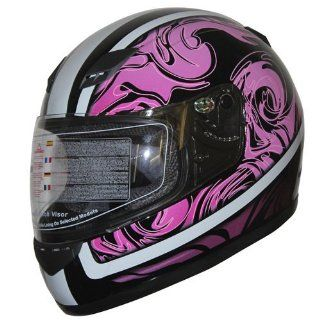 DOT Full Face Motorcycle Sports Bike Helmet 136 Black (Large) Automotive