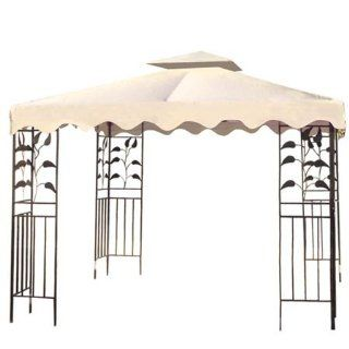 """Sturdy 10' Foot/ 121"""" Inch Square Ivory Poly vinyl Garden Canopy Gazebo Replacement Top Two tier Waterproof for Outdoor Patio UV Protection Sun Shade Tent Shelter  Patio, Lawn & Garden"""