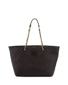 Tory Burch Marion Quilted Tote Bag, Black