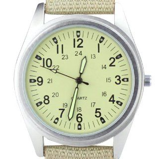 Orkina Mens Silver Case Beige Dial Quartz Canvas Fabric Strap Fashion Wrist Watch P104 SBE: Orkina: Watches