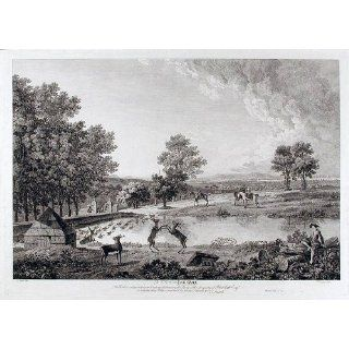 Art: View in Lyme Park (With that extraordinary Custom of driving the Stags;) : Engraving : Thomas Smith of Derby (c.1720   1767) Engraved by Francis Vivares (1709 1780)