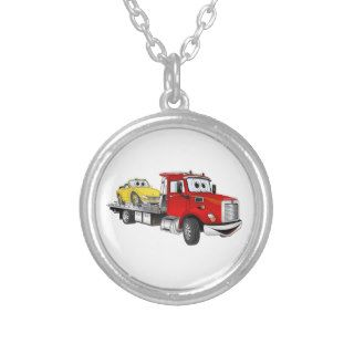 Red Tow Truck Flatbed Cartoon Pendants