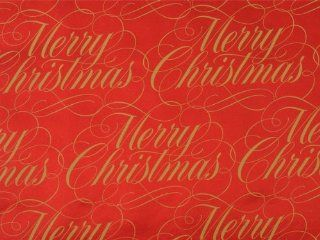 Trendy FOIL RED & GOLD MERRY CHRISTMAS SCRIPT Holiday Gift Wrap Paper   16 Foot Roll