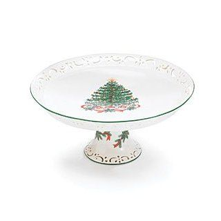 Beautiful Porcelain Pedestal Cake Plate/Stand For Christmas/Holiday Decor: Kitchen & Dining