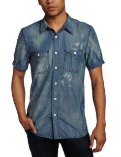 Hudson Jeans Men's Short Sleeve Light Weight Shirt, Kruiser Washed Blue, Small at  Men�s Clothing store