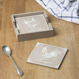wooden hen coasters by the contemporary home