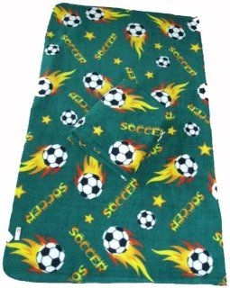LARGE Size 70x60 Soccer Ball Anti pill Polar Fleece Blanket (Green): Sports & Outdoors