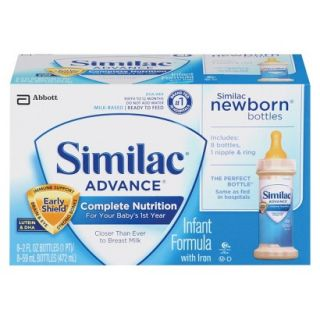 Similac Advance Ready To Feed Newborn Infant Formula Bottles, 2 Fl oz. (48
