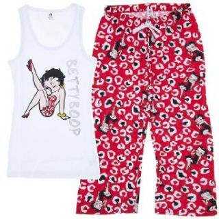 Betty Boop Red & White Capri Length Pajama Set for Women S: Clothing