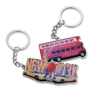 2x Retro Style Big Apple New York City Empire State Building Sightseeing Bus NYC Skyline Yellow Cab Keychain NY Souvenir Gift Key Chain Ring   Set of 2  Key Tags And Chains