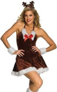 Sexy Reindeer Girl Christmas Rudolph Dress XMAS Costume: Clothing