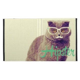Turquoise Funny Cat Cute Hipster Glasses Mustache iPad Case