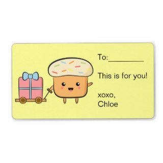 Gift tag   kawaii Cupcake with rainbow sprinkles Personalized Shipping Labels
