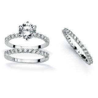 Palm Beach Jewelry   Trauring/Verlobungsring Set  Sterlingsilber platiniert  GRATIS Ring   49 (15.6): Schmuck