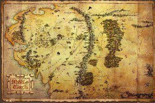 The Hobbit Poster Karte von Mittelerde   Poster Gro�format (91,5cm x 61cm) + 1 �berraschungsposter gratis!: Küche & Haushalt