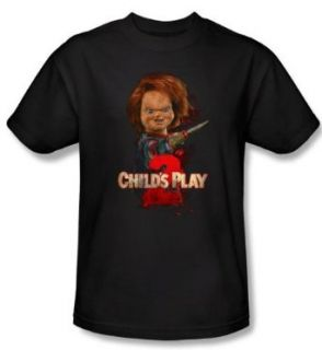 Child's Play 2 T shirt Movie Here's Chucky Adult Black Tee Shirt: Clothing