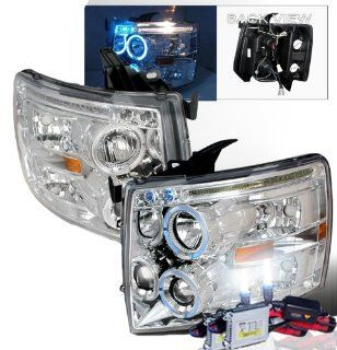 High Performance Xenon HID Chevy Silverado Halo Projectors Headlights with Premium Ballast (Chrome Housing w/ Clear Lens & 6000K HID Lighting Output) Automotive