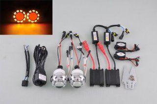 "Motorcycle 2.0"" HID Bi Xenon Ballast Projector Lens Yellow Angel Red Devil Eyes Automotive"