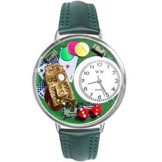 Whimsical Women's Casino Theme Hunter Green Leather Watch Whimsical Women's Whimsical Watches