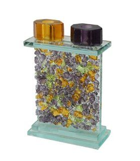 "Shop Jewish Collector's Glass With Purple & Orange Fused Shredded Glass Shabbat Sabbat Candle Holders / Sticks Hand Made In The USA By Riverside Studios Size 5.0"" Wide, 2.25"" Deep, 7.5"" Tall . Great Gift For Rosh Hashanah Sabbath Pu"