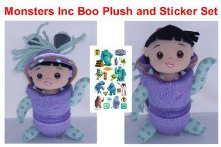 """Retired Hard to Find Disney Monsters Inc. Sully and Mike Wazowski Sidekick 10"""" Plush Baby Boo in Monster Costume with Monsters Inc. Sticker Sheet Toys & Games"""