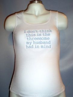 "Maternity Tank Top ""This Isn't the Threesome My Husband Had in Mind"" (Small, White with Pink stitching) at  Women�s Clothing store"
