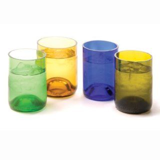 Oenophilia Recycled Glass Wine Bottle Tumblers, Assorted Colors   Set of 4 Kitchen & Dining