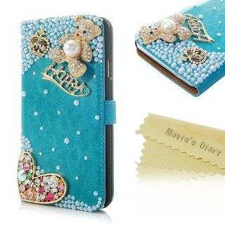 Mavis's Diary 3D Handmade Crystal Crown HAPPY Line Cute Beer Flower Rhinestone Heart Fashion Green Leather Wallet Type Magnet Design Flip Luruxy Case Cover with Soft Clean Cloth (Samsung Galaxy Note 3 SM N9000): Cell Phones & Accessories