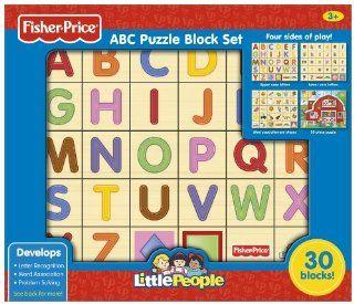 Fisher Price ABC Alphabet Puzzle Block Set (Little People), 30 Piece Toys & Games