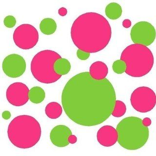 Set of 130 Dark Pink and Lime Green Polka Dots Wall Graphic Vinyl Lettering Mural Decal Stickers Kit Peel and Stick Appliques   Decorative Wall Appliques