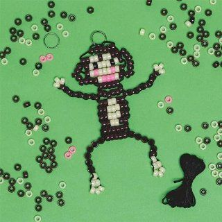 Beaded Monkey Key Chain Craft Kit (Makes 12): Toys & Games