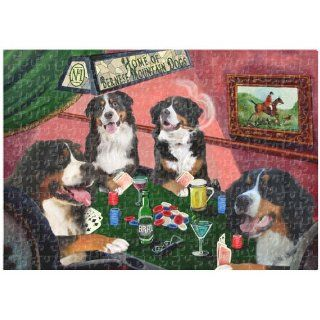 Bernese Mountain Dogs Playing Poker 252 Pc. Puzzle with Photo Tin   Plaques