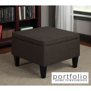 Portfolio Engle Chocolate Brown Linen Table Storage Ottoman