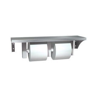 Stainless Steel Shelf and Double Toilet Paper Holder Spindle Type Standard