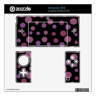 Artistic Abstract Retro Dots Spots Purple Black Decals For The 3DS