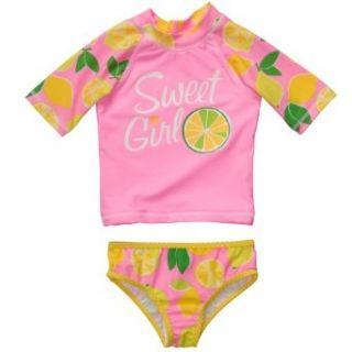 Carter's Baby Girls 2 piece Neon Pink Rash Guard Set (3M 24M) Clothing