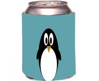 Rikki KnightTM Penguin on Teal Blue Design Drinks Cooler Neoprene Koozie Cold Beverage Koozies Kitchen & Dining