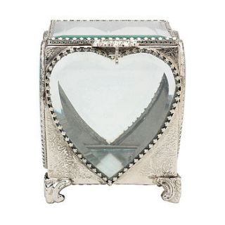 silver glass heart trinket box by oh so chic
