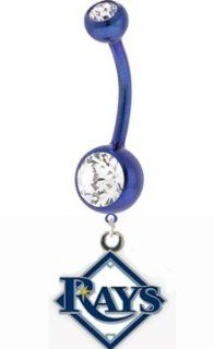 Blue Tampa Bay Devil Rays Charm Belly Button Ring  Sports Fan Charms  Sports & Outdoors