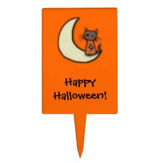 Happy Halloween Kitty & Moon Cake Toppers