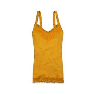 Abercrombie & Fitch Womens Ribbed Tank Top Supersoft Lace Trim Cotton Stretch Sleeveless (S, Yellow) Tank Top And Cami Shirts