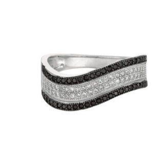 BRI Jewelry Sterling Silver Flat Twisted Ring With Black And Clear Cubic Zirconia: Jewelry