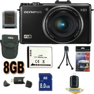 Olympus XZ 1 10 MP Digital Camera with f1.8 Lens and 3 Inch OLED Monitor International Model No Warranty (Black) 8GB SDHC Accessory Saver Bundle  Point And Shoot Digital Camera Bundles  Camera & Photo