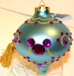 Disney Parks Exclusive Blue Jeweled Large Pearlized Glass Magical Mickey Mouse Ear Heads Bohemian Christmas Ornament  Christmas Ball Ornaments