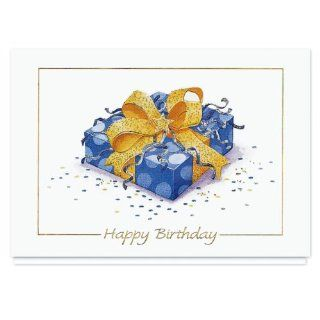 Gift Wrapped Wishes Birthday Card   25 Premium Birthday Cards with Foiled lined Envelopes: Health & Personal Care