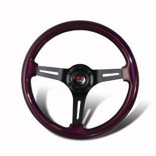 Universal 345mm 6 Hole Purple Wood Grain Style Deep Dish Steering Wheel Automotive