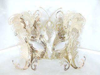 Bellini Gatti Gold Butterfly Laser Cut Metal Venetian Masquerade Mask Swarovski Crystals   Decorative Masks